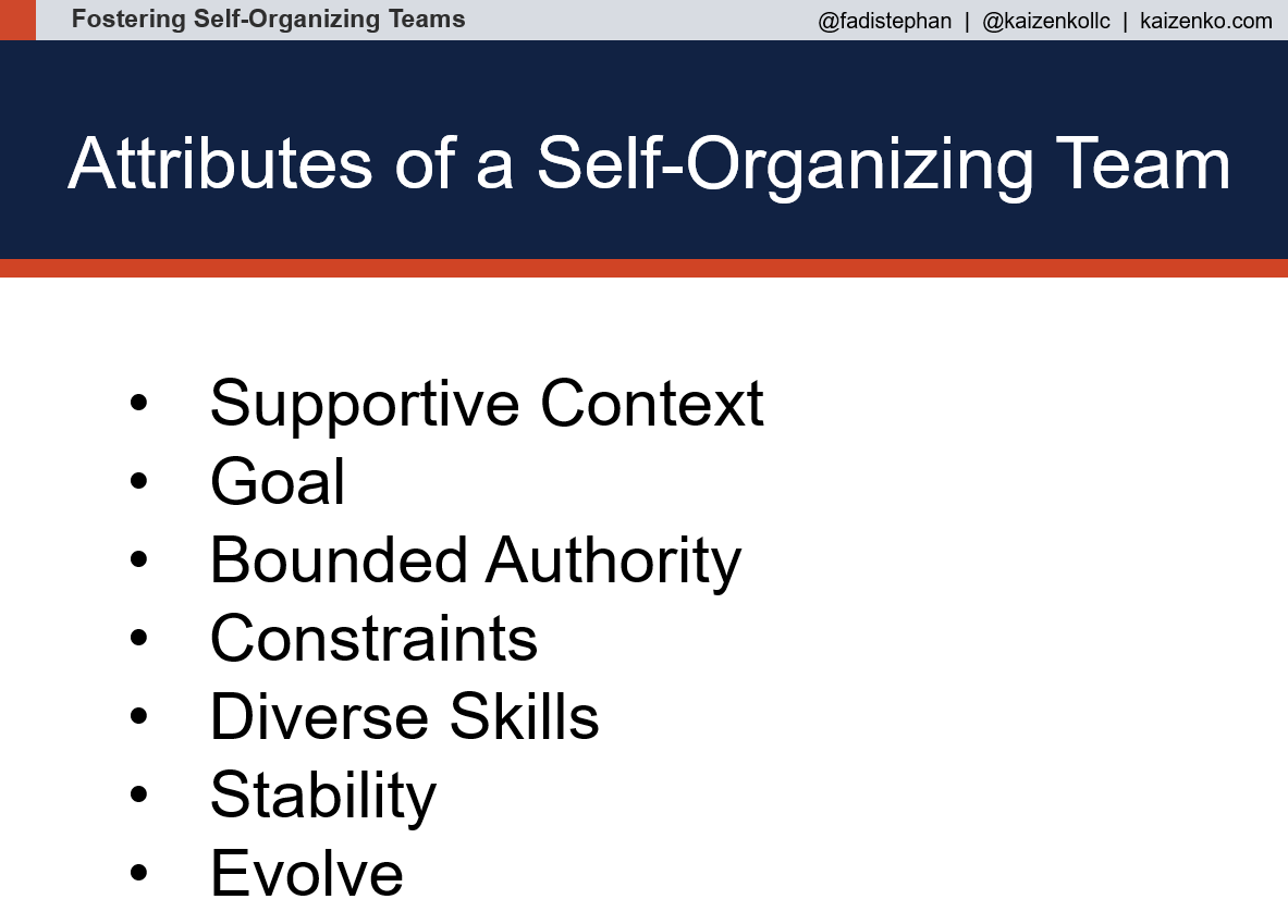 7 Attributes of a Self-Organizing Team