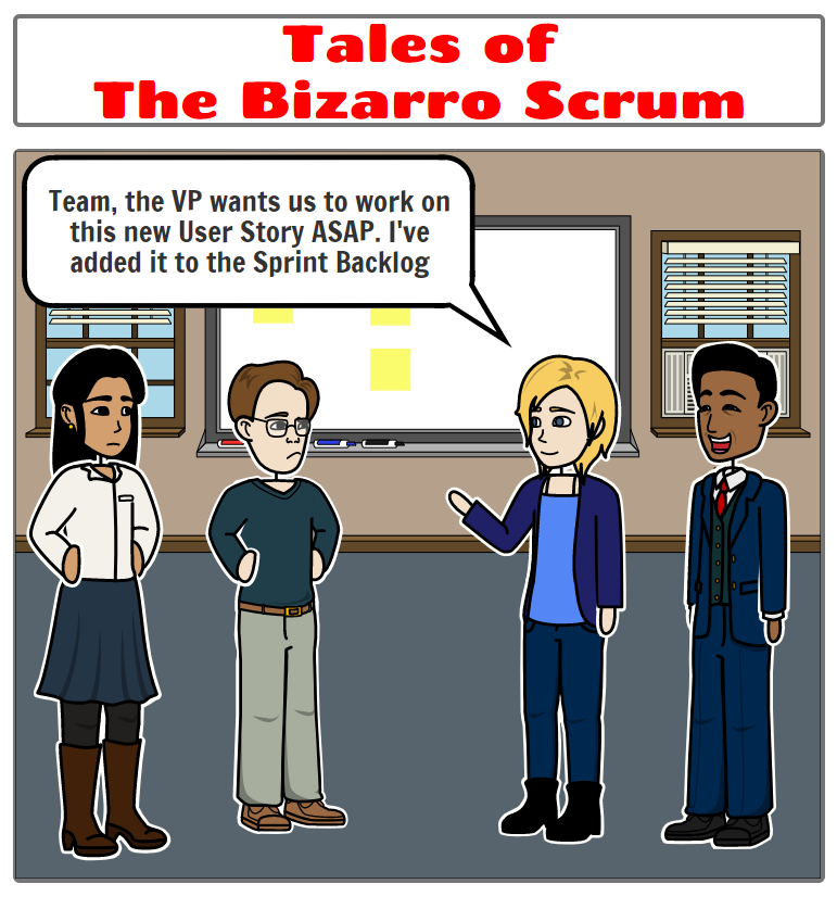 Executive telling the team that the Scrum Master and Product Owner are going to be the same person